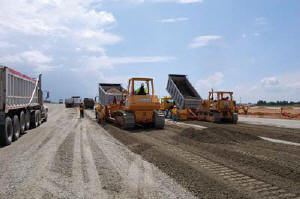 Sharpe Bros. placed more than 17,000 tons of rock in one day during taxiway construction.