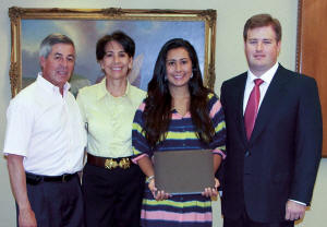 Lina Maria Cajiao, daughter of Raul Cajiao, Terminal Operator at South Florida Materials Corp., will be attending Florida Atlantic University to earn a Nursing degree. Shown are Lina and her parents, with Christopher Vecellio, right. (Photo by Carl Thiemann)