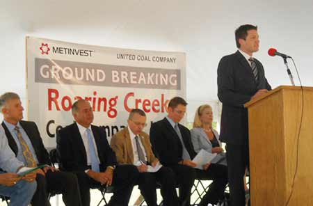 A number of dignitaries, including the acting governor of West Virginia and a U.S. Senator, were on hand to address the audience at a recent groundbreaking for Roaring Creek in Ellamore, WV, where Vecellio & Grogan will perform the coal site development work. (Photo by Joe Mattlin)