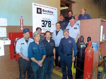 Among the shop team at Beckley Equipment Repair, which provides services to Vecellio & Grogan and outside customers, are (from left to right, front to back) David Johnson, David Lilly, David Mullens, Cecil Williams, Les Lilly, Steve Spencer, Alfred Lacy, Darrell Payne, Alvin Jones, Bill Croy and Jim Lowery.