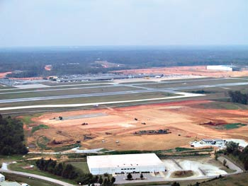 V&G is performing site work for a Honda aircraft factory at Piedmont Triad International Airport in Greensboro, NC. On the right in the background is V&G's FedEx project. (Photo by John Riley, Jr.)