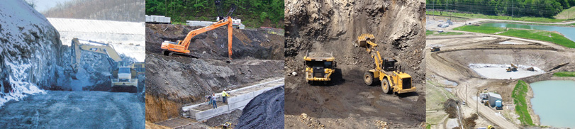 four images: an excavator digs at a rocky hill, a crane and workers at a construction site, a dump truck and front loader digging a hillside, a drainage pond construction site